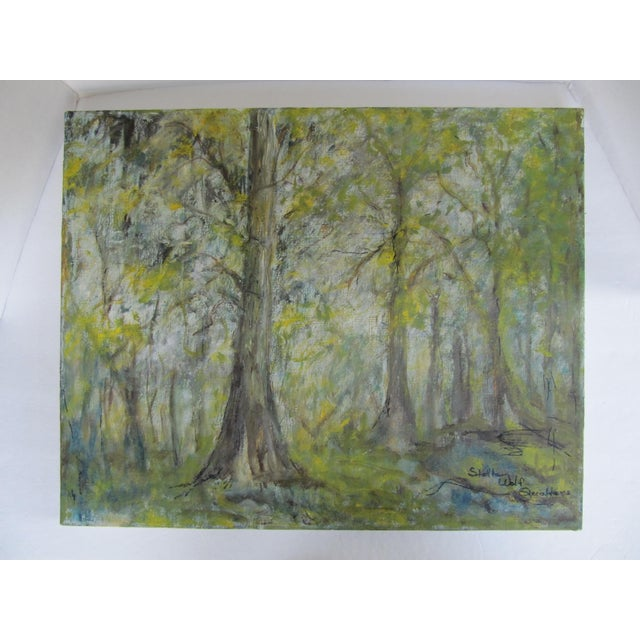 Impressionism Vintage Impressionist Forest Painting For Sale - Image 3 of 7