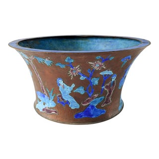 Antique Chinese Enamel on Copper Jardiniere or Cache Pot For Sale