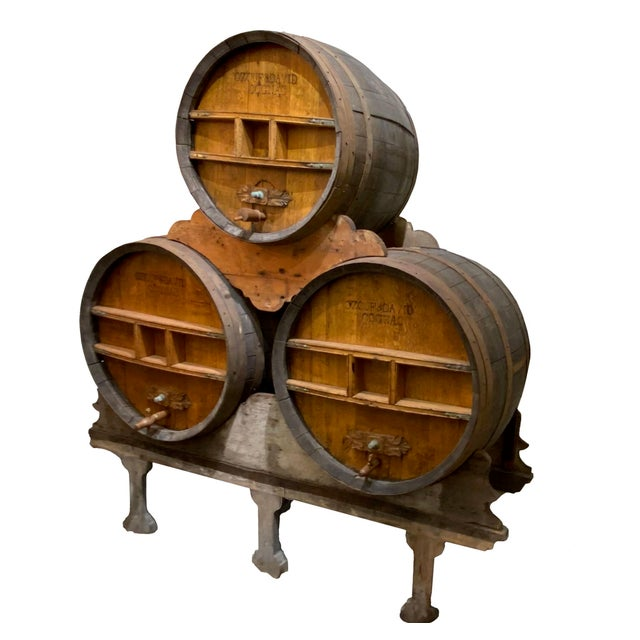 French Country Continental Cognac Barrels - 5 Piece Set For Sale - Image 3 of 9