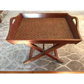 Campaign Style Woven Bamboo Folding Coffee Table With Tray Preview