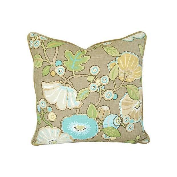 Designer Linen/Velvet Floral Pillows - A Pair - Image 2 of 7