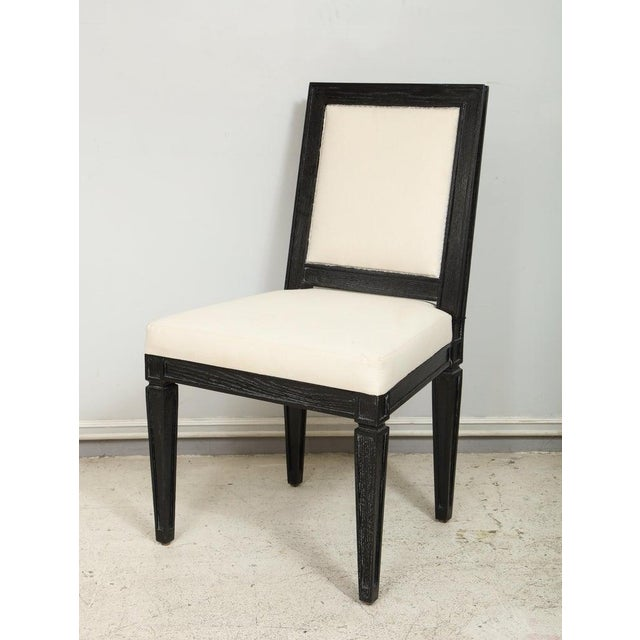 Late 20th Century Louis XVI Style Black Cerused Chairs - Set of 4 For Sale - Image 5 of 11
