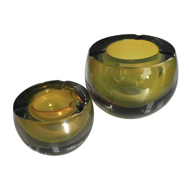 Chartreuse Glass Tea Light Bowls - A Pair - Image 1 of 6