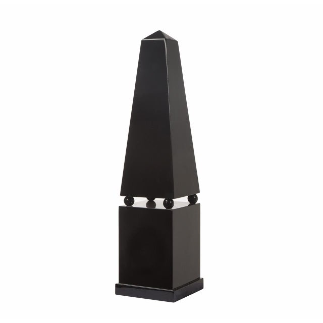 Wood Large Black Lacquer Floor Obelisk With Pedestal For Sale - Image 7 of 7