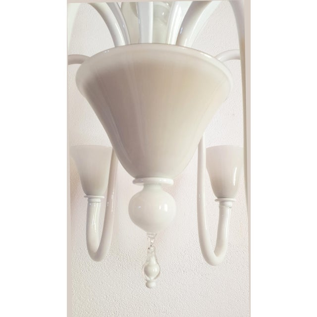 Metal Large Mid-Century Modern 6 Lights Milk Murano Glass Chandelier by Venini For Sale - Image 7 of 11