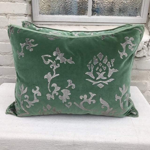 Custom Hand Stenciled Pillows - A Pair - Image 2 of 5