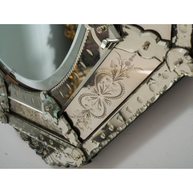 Silver 1930s Octagonal Venetian Mirror With Crown For Sale - Image 8 of 10