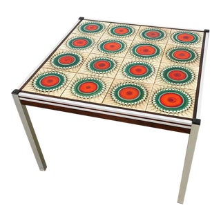 Danish Tile Top, Rosewood, & Chrome Table For Sale