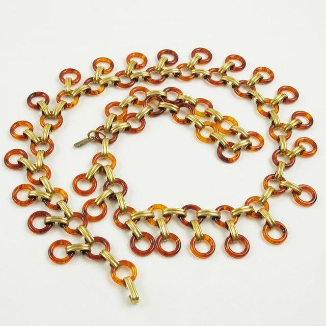 Brass Yves Saint Laurent Paris Tortoise Lucite Brass Necklace Waist or Hip Belt For Sale - Image 7 of 10