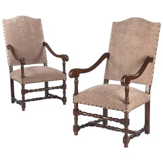 1920s French Louis XIII Style Armchairs - a Pair For Sale