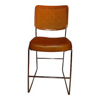 Midcentury Chromcraft Marcel Breuer Style Cane & Chrome Bar Stool / High Chair For Sale