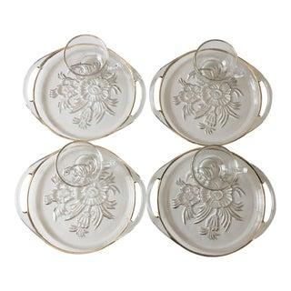 Mid Century Glass Luncheon Plates & Mugs – Set of 4