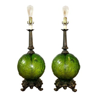 Mid-Century Modern Green Glass Globe Lamps - a Pair