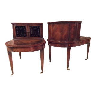 Vintage Neoclassical Weiman Mahogany With Gilt Gold and Leather Inlay Tops End Tables - a Pair For Sale
