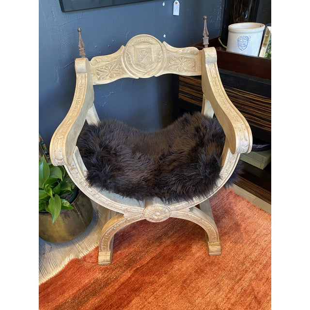 Carved Oak Throne Chair With Shearling Seat For Sale - Image 10 of 10