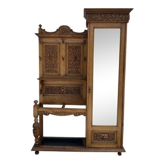 Antique Gothic Revival Carved Armoire For Sale