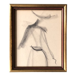 Original Vintage Abstract Charcoal Female Study Drawing Vintage Frame For Sale