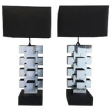 "Image of Curtis Jere Chrome ""Skyscraper"" Table Lamps, Pair For Sale"