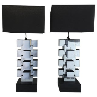 "Curtis Jere Chrome ""Skyscraper"" Table Lamps, Pair For Sale"