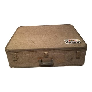 Large Gray Vintage Suitcase For Sale