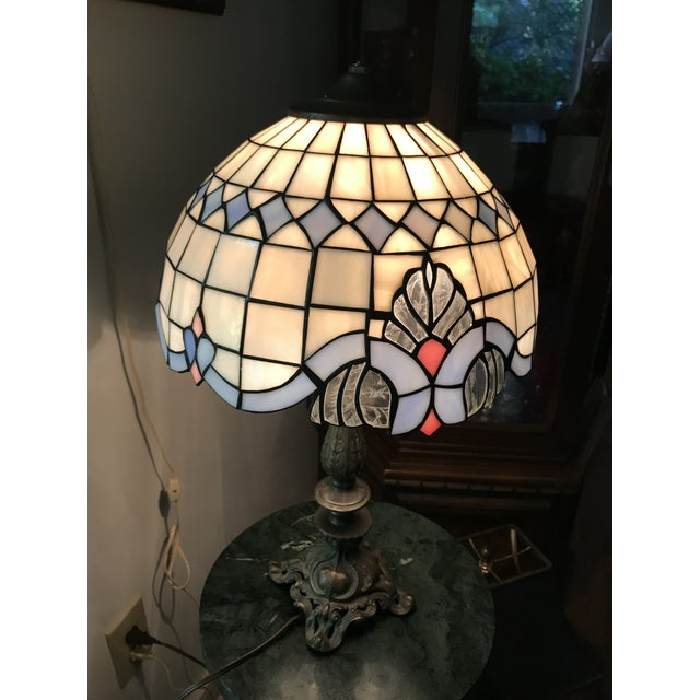 Blue Tiffany Style Vintage Stained Glass Lamp Shade, Brushed Gold Base,Victorian Boudoir, Reduced Final For Sale - Image 8 of 12