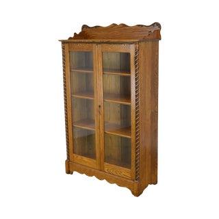 Antique Victorian Oak 2 Door Bookcase For Sale