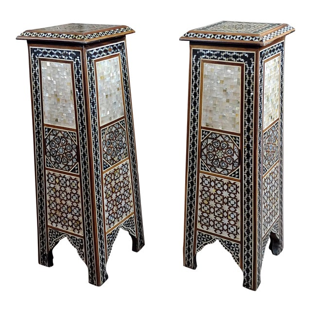 """Syrian Pair of Vintage """"Tower Shaped"""" Petite Inlaid Stands For Sale"""