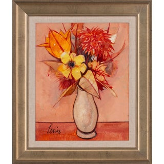 """Circa 1960 """"Fleurs"""" Floral Still Life Oil Painting by Charles Levier, Framed For Sale"""