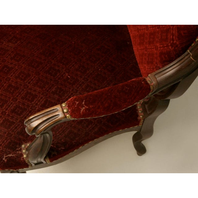 Red Carved Antique French Louis XV Walnut Fauteuils - A Pair For Sale - Image 8 of 10