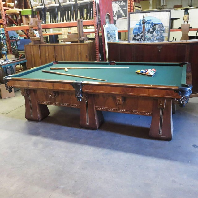 Green 1915 Brunswick Arcade Pool Table With Rare Six-Legged Base For Sale - Image 8 of 9