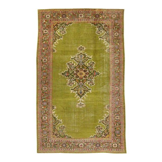 Late 19th Century Antique Persian Sultanabad Rug with Chartreuse Field For Sale