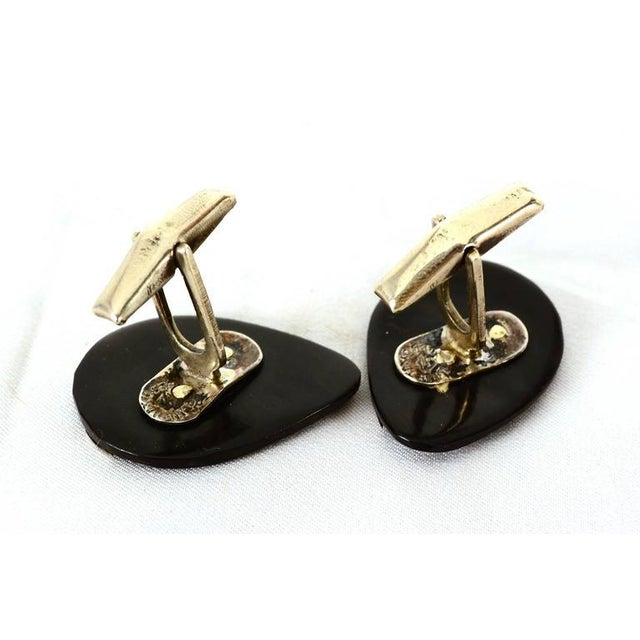 Modern Mexican Modernist Silver & Onyx Cufflinks For Sale - Image 3 of 5