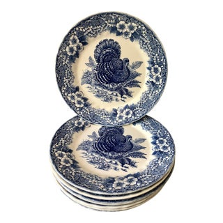 Blue & White Thanksgiving Plates, Set of 8 For Sale