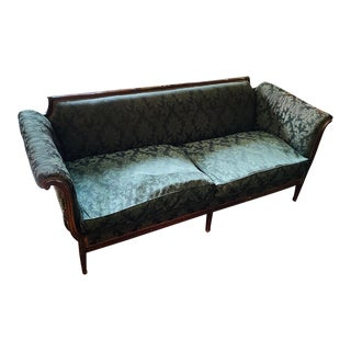 Antique Cherry Wood Frame and Down Feather Cushions Sofa For Sale