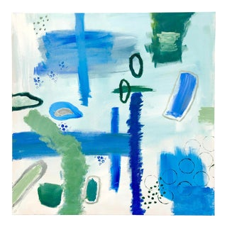 Blue and Green Abstract on Canvas by Virginia Chamlee For Sale