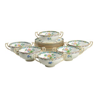 Minton Double Handled Footed Bowl and Saucer - Set of 6 For Sale