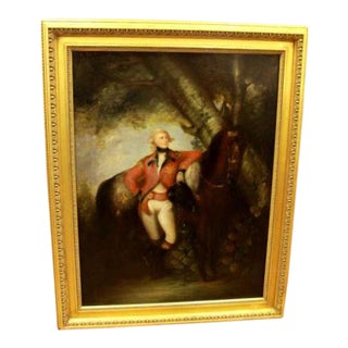 """19th C. Manner of Sir Thomas Lawrence """"Officer and Horse"""" Oil Painting on Canvas For Sale"""