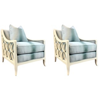 Caracole Couture Modern Blue and Off-White Social Butterfly Club Chairs Pair For Sale