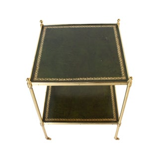 French Side Table With Original Paris Green Leather in the Style of Maison Jansen, C. 1950 For Sale