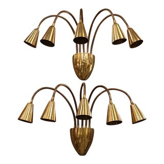 Mid-Century Modern Brass Articulated Sconces, by Gino Sarfatti for Arteluce - a Pair For Sale