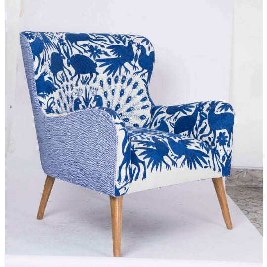 1960s Boho Chic Blue and White Embroidered Lounge Chair For Sale In San Diego - Image 6 of 11