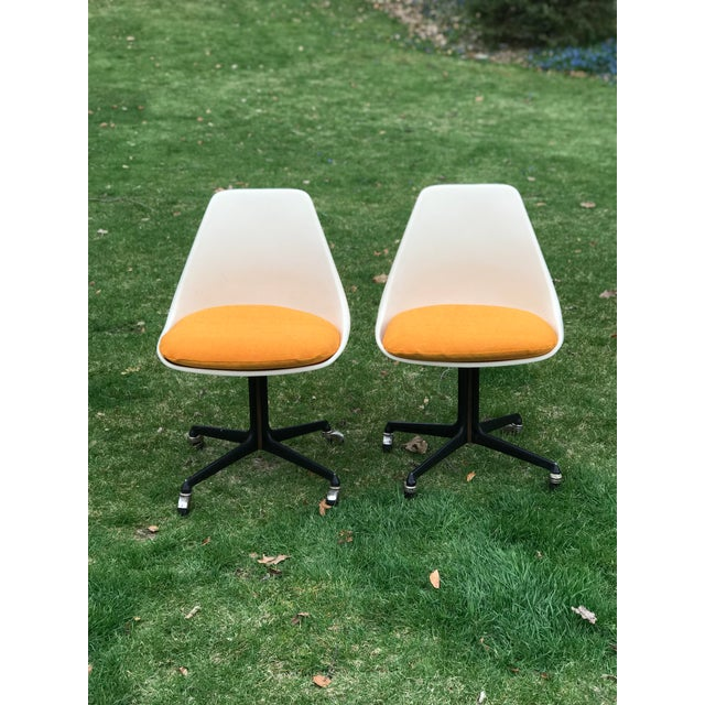 Mid-Century Modern Mid Century Fiberglass Tulip Chairs on Casters by Burke- A Pair For Sale - Image 3 of 9