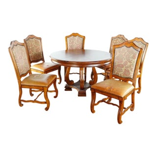 Vintage Traditional Style Seven Piece Dining Set For Sale