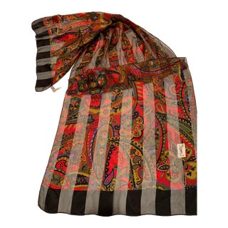 Fabulous Vintage Yves. St. Laurent Silk Crepe and Twill Oblong Scarf For Sale