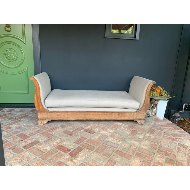 Greige Late 20th Century Vintage Oak Sleigh Day Bed For Sale - Image 8 of 8