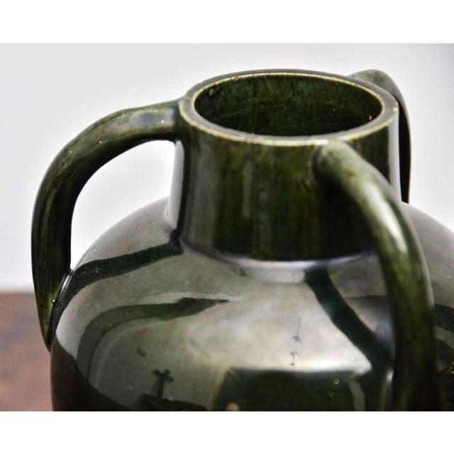 Mid-Century Modern Dark Green Ceramic Vase With Three Handles For Sale - Image 3 of 7