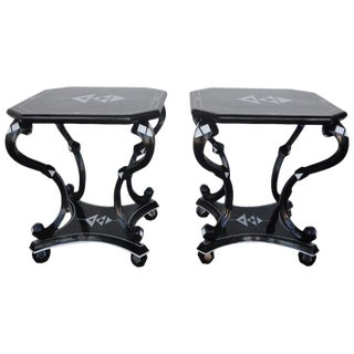Hollywood Regency Coconut Side Tables - a Pair For Sale