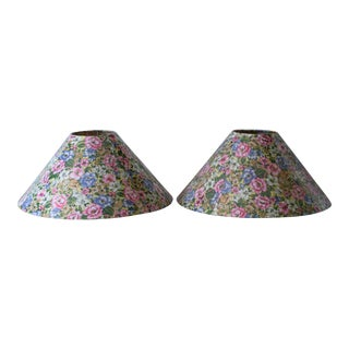 Vintage 1980s Floral Fabric Lamp Shades - a Pair For Sale