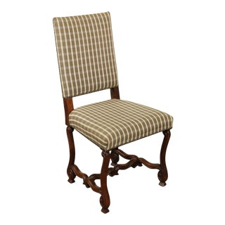 Vintage French Louis XIII Walnut OS De Mouton Side Chair For Sale