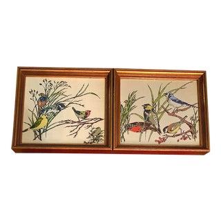 Vintage Bird Prints on Linen - a Pair For Sale